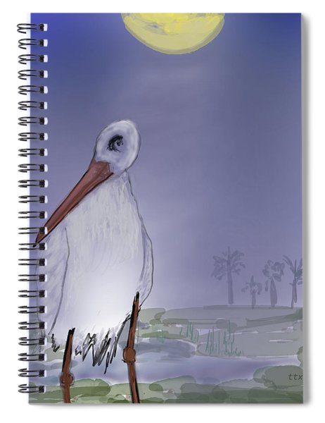Moon Rise Becomes A Stork Spiral Notebook