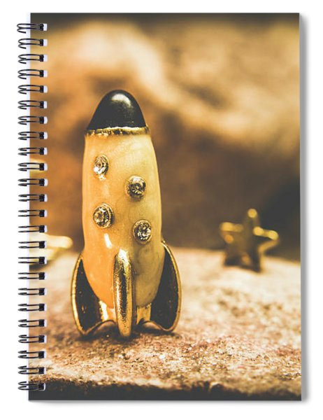 Moon Rocket At Space Station On The Dark Side Spiral Notebook