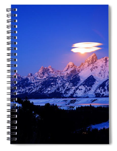 Moon Sets At The Snake River Overlook In The Tetons Spiral Notebook