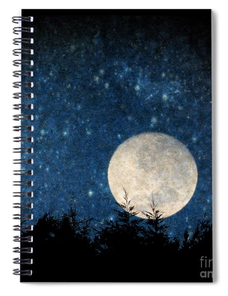 Moon, Tree And Stars Spiral Notebook