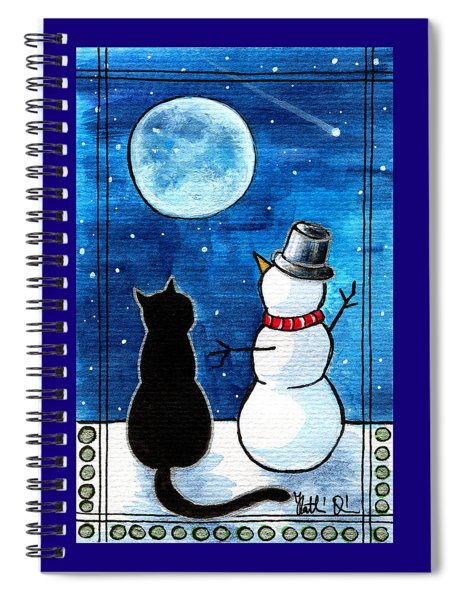 Moon Watching With Snowman - Christmas Cat Spiral Notebook