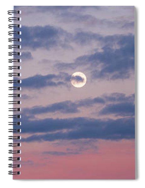 Moonrise In Pink Sky Spiral Notebook