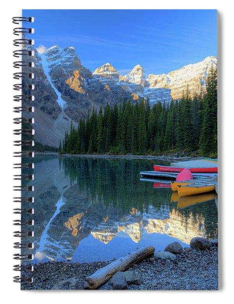 Moraine Lake Sunrise Blue Skies Canoes Spiral Notebook