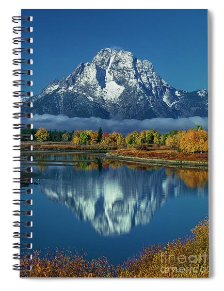 Morning Cloud Layer Oxbow Bend In Fall Grand Tetons National Park Spiral Notebook by Dave Welling
