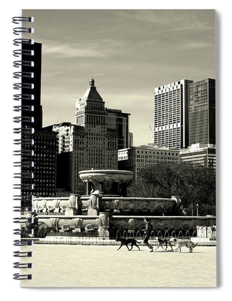 Morning Dog Walk - City Of Chicago Spiral Notebook