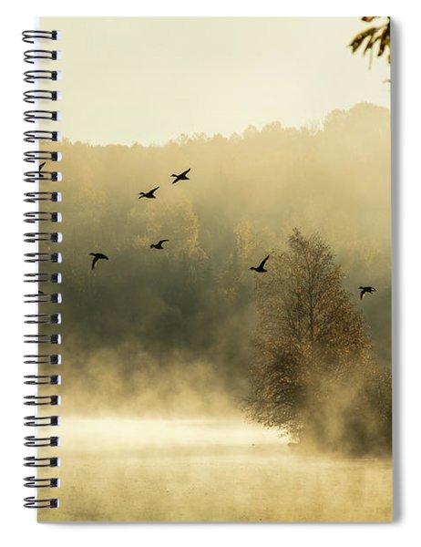 Morning Fog On Haley Pond In Rangeley Maine Spiral Notebook