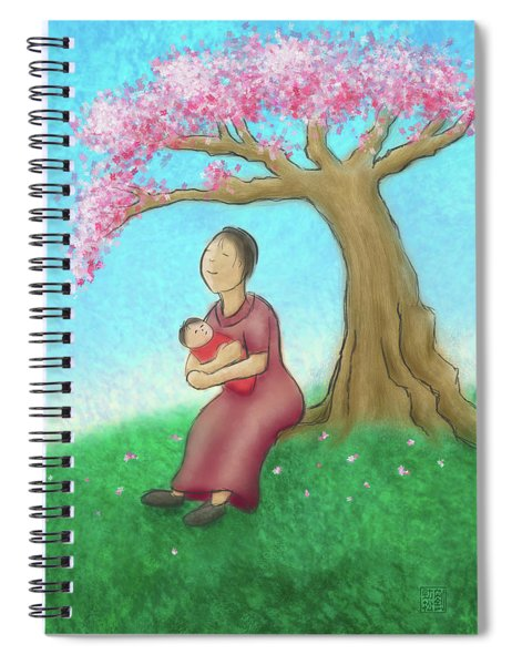Mother And Child With Cherry Blossoms Spiral Notebook