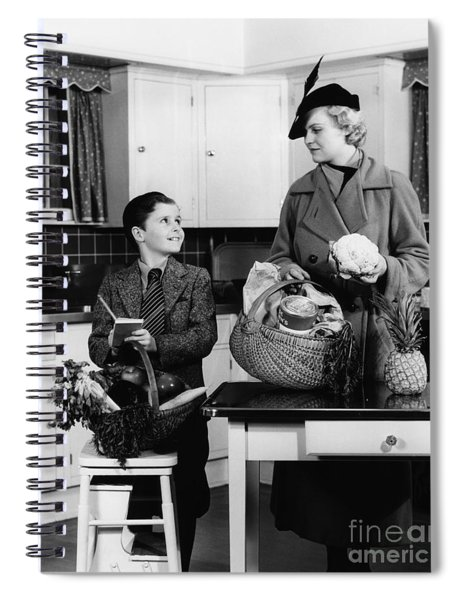 Mother And Son With Groceries, C.1930s Spiral Notebook