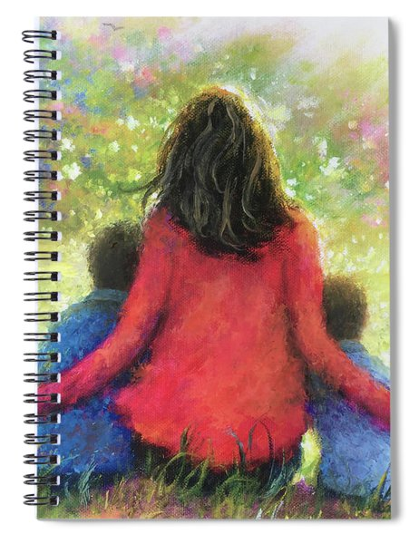 Mother And Three Sons In The Garden Spiral Notebook
