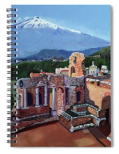 Mount Etna And Greek Theater In Taormina Sicily Spiral Notebook