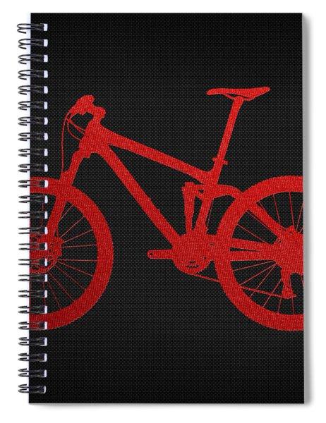 Mountain Bike - Red On Black Spiral Notebook