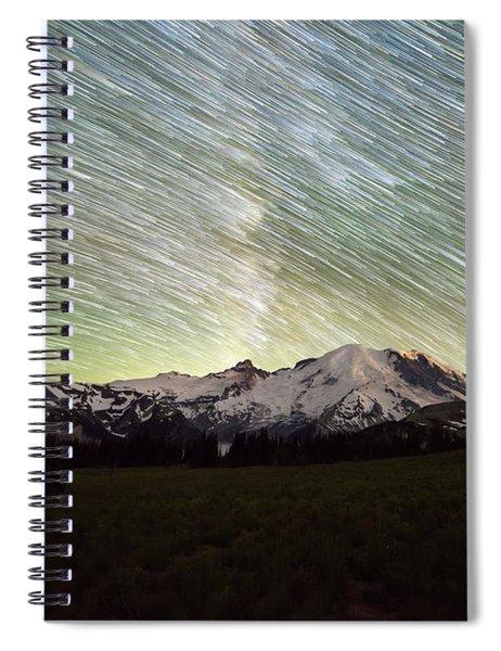 Mountain Rainier Star Trails  Spiral Notebook