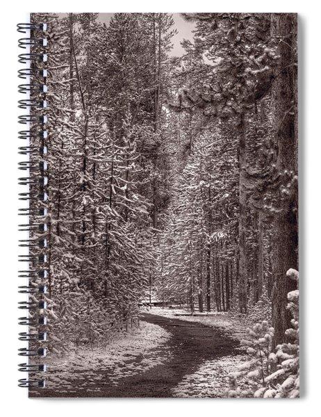 Mountain Trail Yellowstone Bw Spiral Notebook