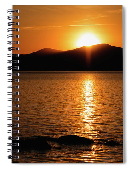 Mountains And River At Sunset Spiral Notebook