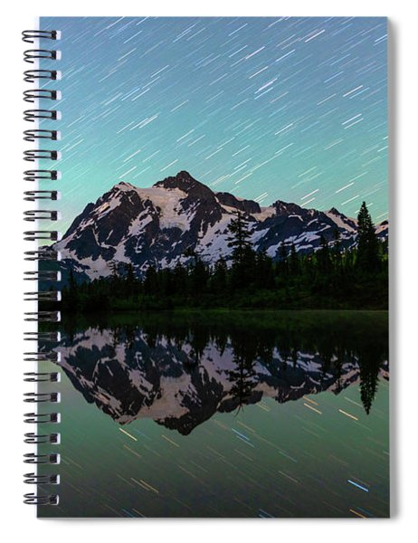 Mt Shuksan And Star Trails Spiral Notebook