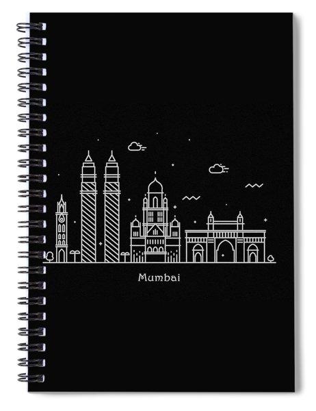Mumbai Skyline Travel Poster Spiral Notebook