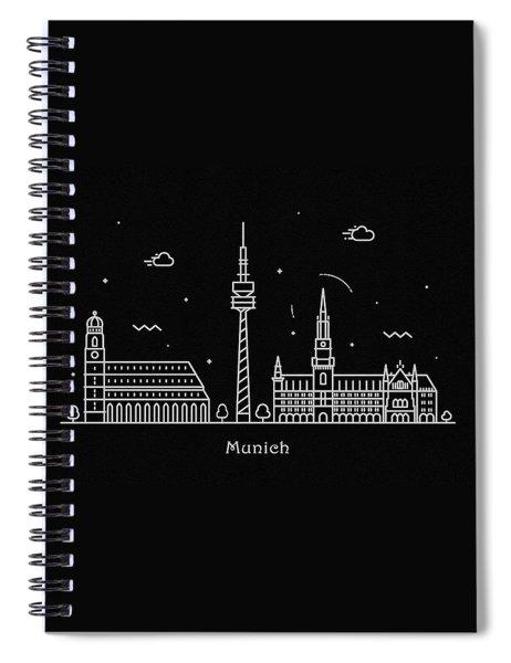 Munich Skyline Travel Poster Spiral Notebook