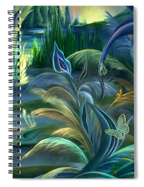 Mural  Insects Of Enchanted Stream Spiral Notebook