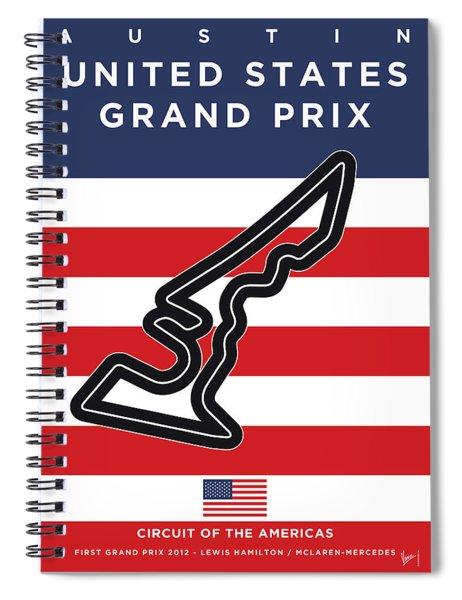My Austin Usa Grand Prix Minimal Poster Spiral Notebook