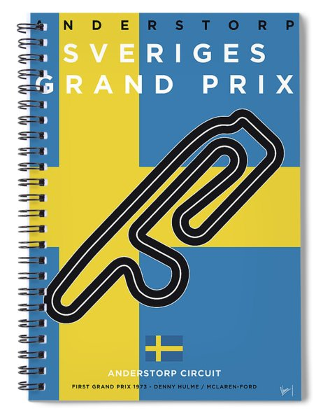 My F1 Anderstorp Race Track Minimal Poster Spiral Notebook