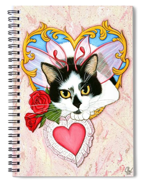 My Feline Valentine Tuxedo Cat Spiral Notebook