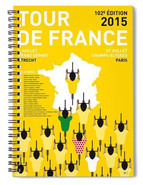 My Tour De France Minimal Poster Etapes 2015 Spiral Notebook
