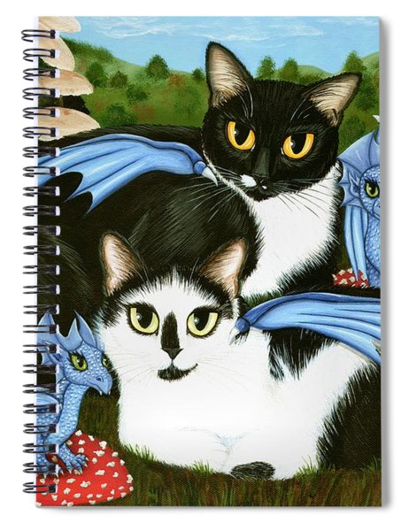 Nami And Rookia's Dragons - Tuxedo Cats Spiral Notebook
