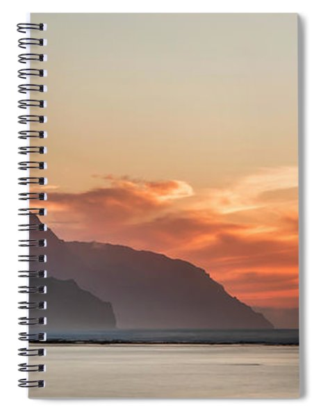 Napali Coast Kauai Hawaii Panoramic Sunset Spiral Notebook