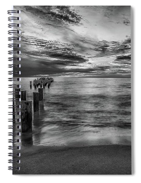 Naples Sunset In Black And White Spiral Notebook
