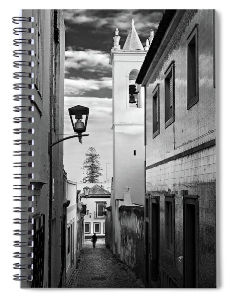 Spiral Notebook featuring the photograph Narrow Street And Bell Tower In Tavira - Portugal by Barry O Carroll