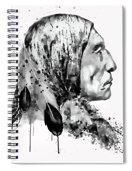 Native American Side Face Black And White Spiral Notebook