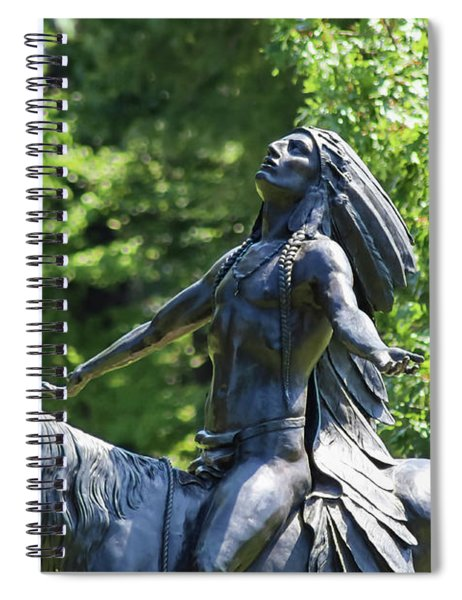 Native American Warrior Chief On Horse Looking Up To Heaven Spiral Notebook