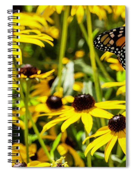 Monarch Butterfly On Yellow Flowers Spiral Notebook