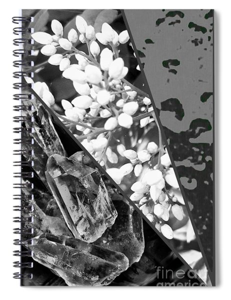 Nature Collage In Black And White Spiral Notebook