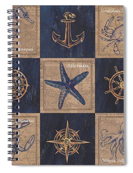 Nautical Burlap Spiral Notebook