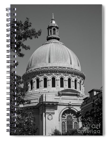 Naval Academy Chapel - Black And White Spiral Notebook