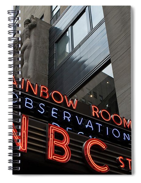 Spiral Notebook featuring the photograph Nbc Studio Rainbow Room Sign by Lorraine Devon Wilke