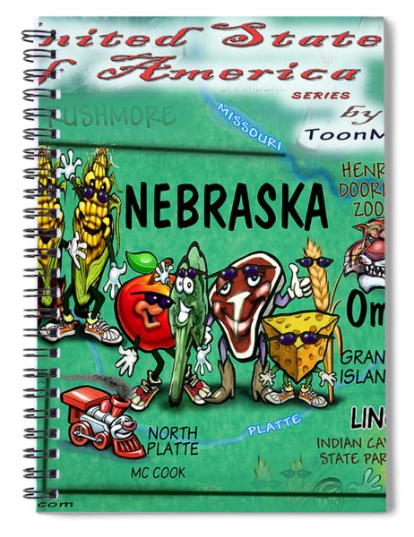 Nebraska Fun Map Spiral Notebook