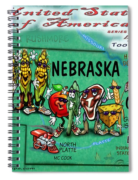 Nebraska Fun Map Spiral Notebook