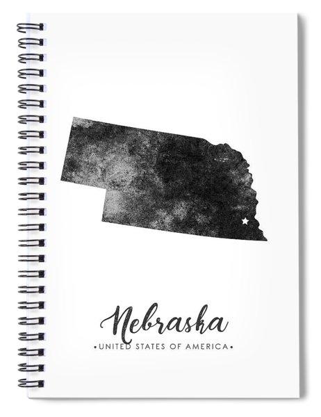 Nebraska State Map Art - Grunge Silhouette Spiral Notebook