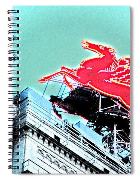 Neon Pegasus Atop Magnolia Building In Dallas Texas Spiral Notebook