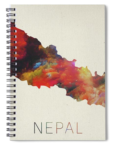 Nepal Watercolor Map Spiral Notebook