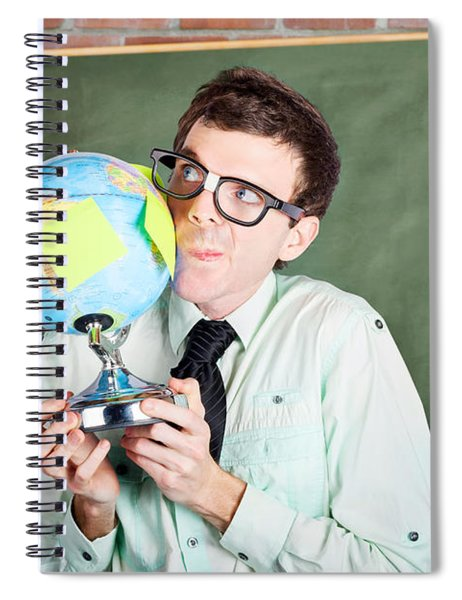 Nerd Man Holding Earth World Globe In Classroom Spiral Notebook