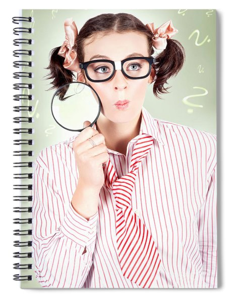 Nerdy School Girl Student With Education Question Spiral Notebook