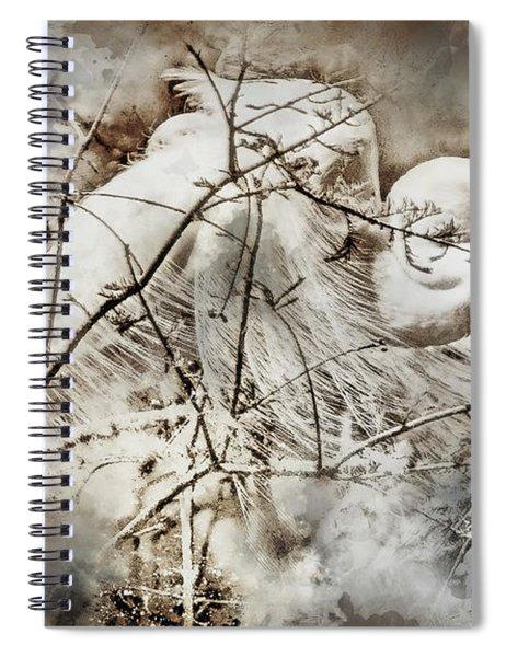 Nesting Egret - Digital Art Spiral Notebook