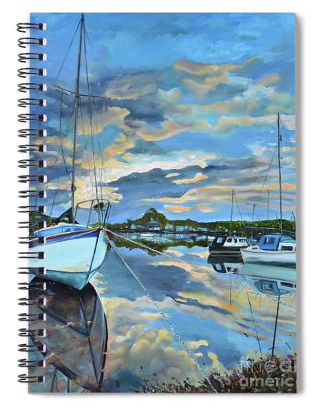 Spiral Notebook featuring the painting Nestled In For The Night At Mylor Bridge - Cornwall Uk - Sailboat  by Jan Dappen