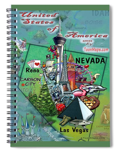 Nevada Fun Map Spiral Notebook