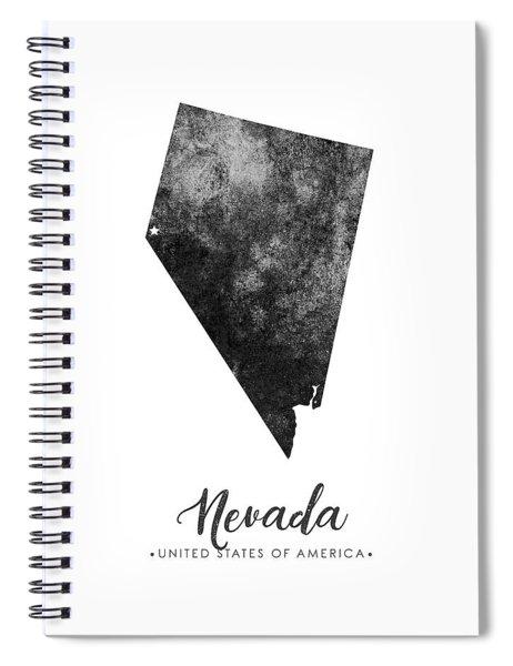 Nevada State Map Art - Grunge Silhouette Spiral Notebook