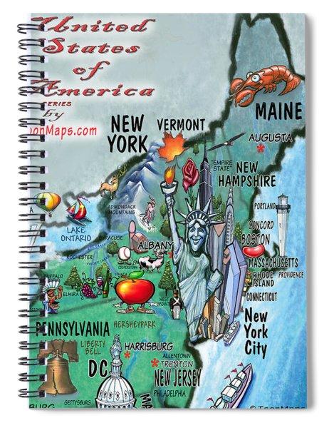 New England Fun Map Spiral Notebook