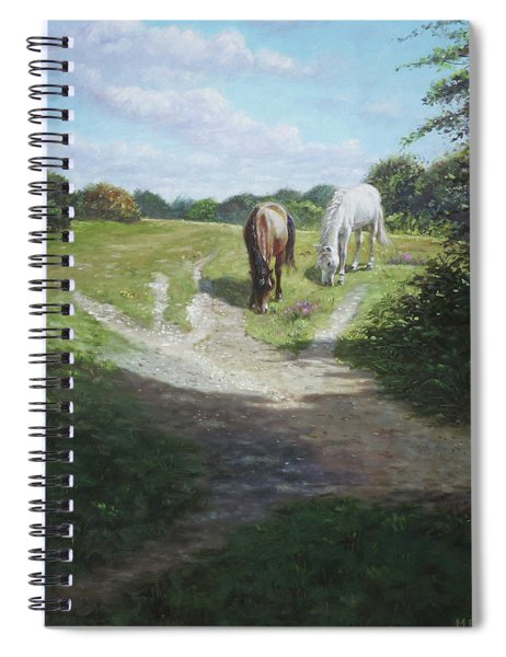 New Forest Horses With Light And Shade  Spiral Notebook